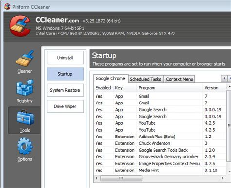 chrome manage extensions ccleaner 3 25 update brings chrome extension management