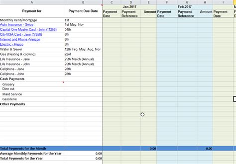 bill payment spreadsheet excel templates tracking your monthly bill due dates and payments free