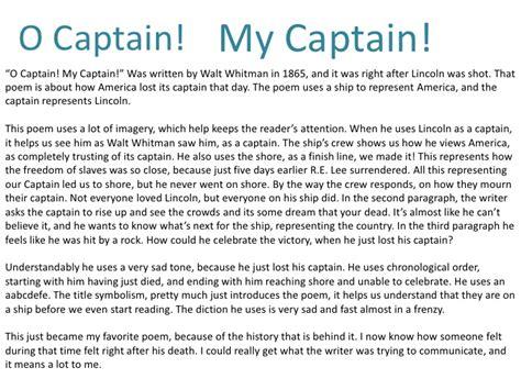 O Captain My Captain Essay by O Captain My Captain Analysis Essay Writefiction581 Web Fc2