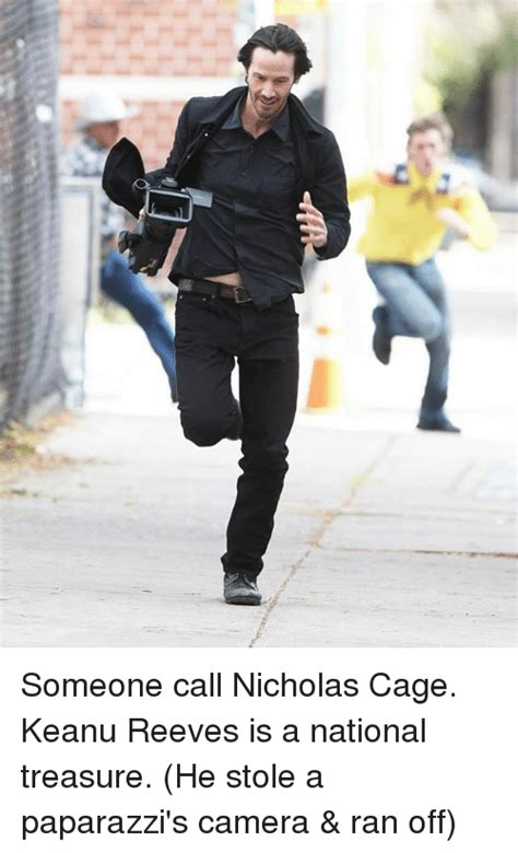 Keanu Reeves Runs The Paparazzi by Someone Call Nicholas Cage Keanu Reeves Is A National