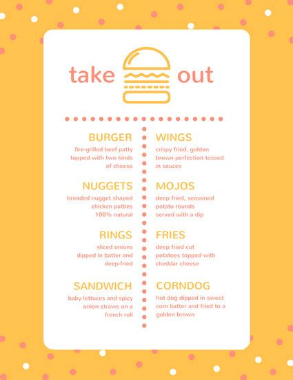 restaurant take out menu templates take out menu templates canva