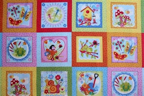 Fabric Quilt Labels Yard by Girly Bugs Labels Birds Frogs Butterfly Fabric 1 Panel Auntie Chris Quilt Fabric