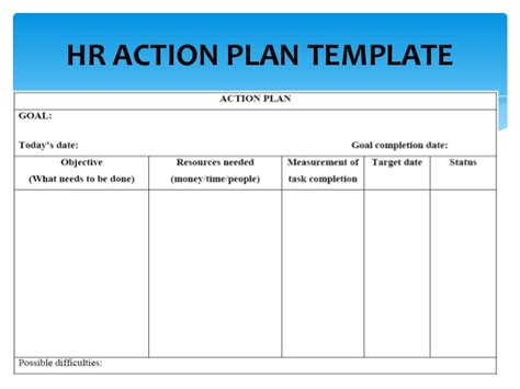 hr work plan template hrm and administration masterclass