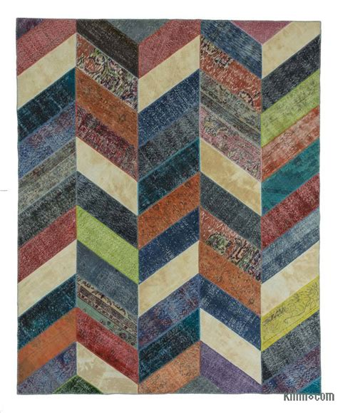 Patchwork Rug - k0020185 multicolor dyed turkish patchwork rug