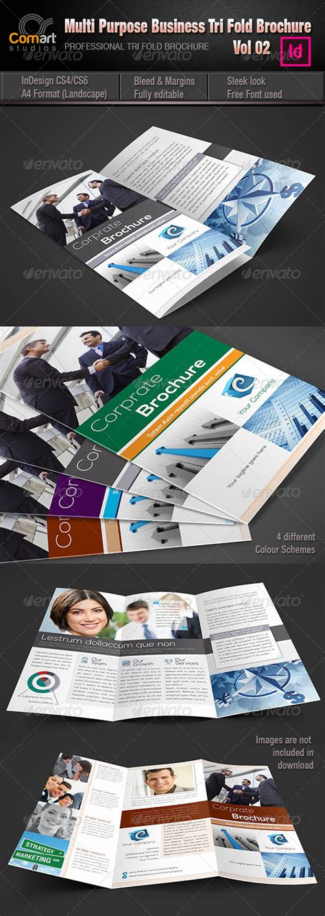 cs tri fold brochure indesign template vol 02 brochures
