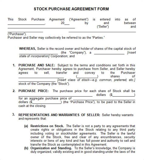 11 Stock Purchase Agreement Templates To Download Sle Templates Stock Transfer Agreement Template