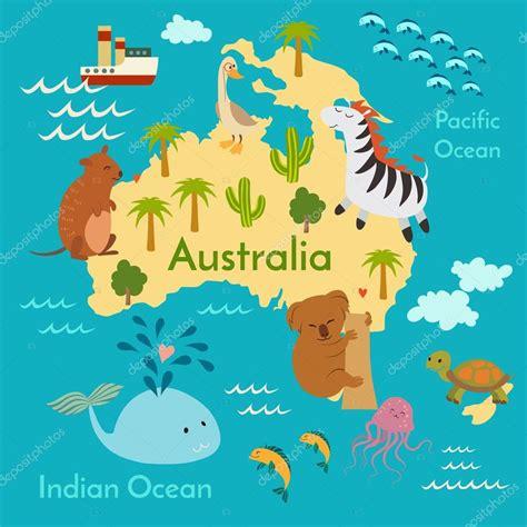 world map illustration 2 animals world map australia 스톡 벡터 169 coffeee in 95723588