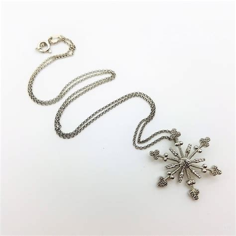 Sterling Silver Snowflake Pendant sterling silver snowflake pendant necklace with 16 quot chain