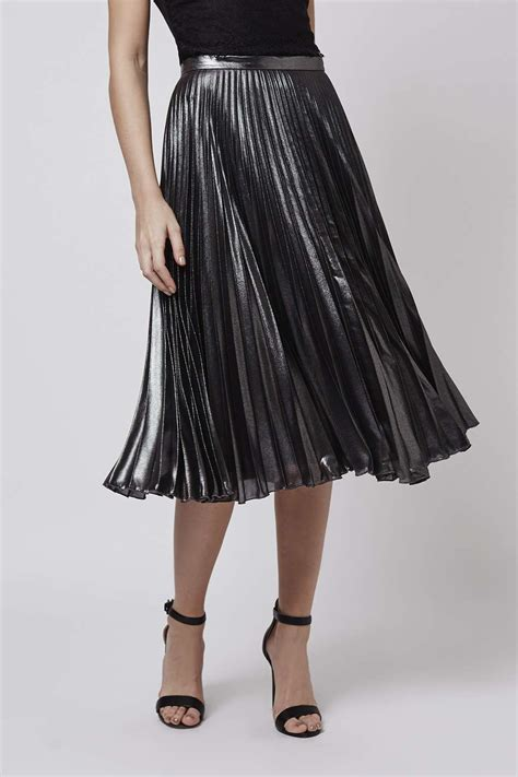 Metallic Pleated Midi Skirt topshop metallic pleat midi skirt in silver lyst