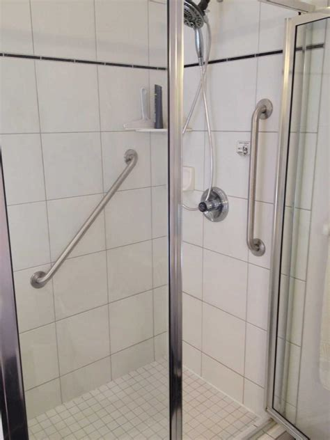 Bathroom Shower Rails Interior Bathroom Shower Stall Design With Stainless Frame Of Glass Door Complete With Handicap