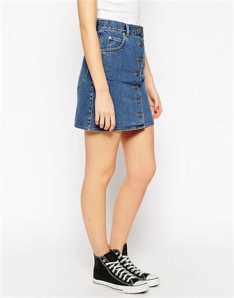 asos asos denim dolly a line button through mini skirt