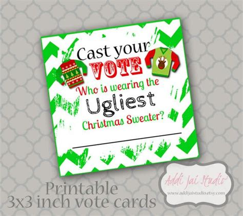 free printable ugly sweater voting ballots instant download ugly christmas sweater vote cards