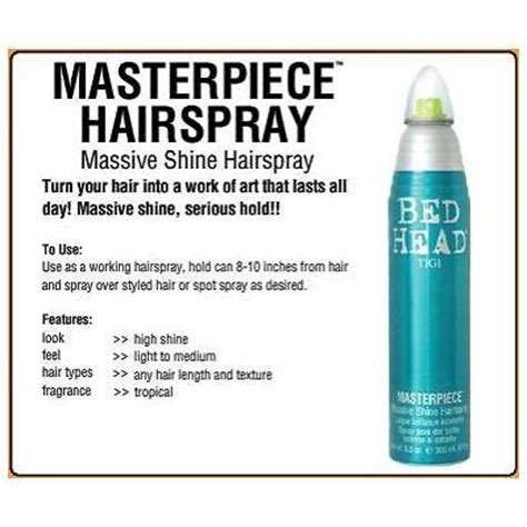 bed head masterpiece tigi bed head masterpiece massive shine hairspray 9 5oz