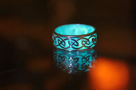 Wedding Rings That Glow by Celtic Sterling Silver Ring Glow In The