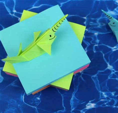 How To Make An Origami Narwhal - seaworthy sticky note origami narwhal allfreepapercrafts