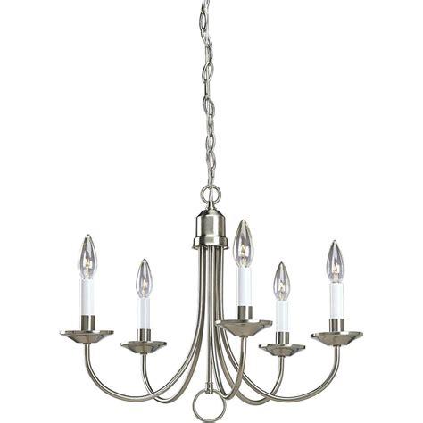 home depot chandelier progress lighting 5 light brushed nickel chandelier p4008
