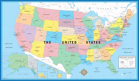 map of the united states 8 5 x 11 11x17 world usa educational beginners level k 4 desktop map