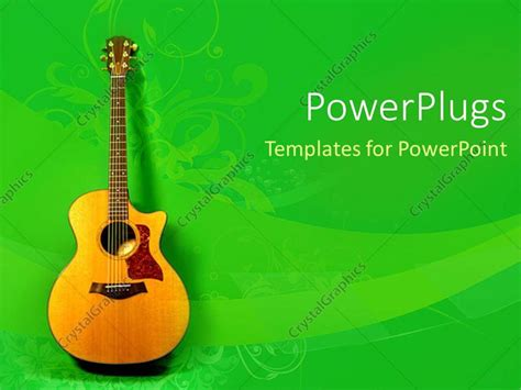 Powerpoint Template Fine Yellow Acoustic Guitar On A Leaf Green Background 21050 Guitar Powerpoint Template