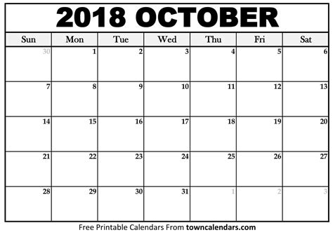 october 2018 calendar printable october 2018 calendar towncalendars