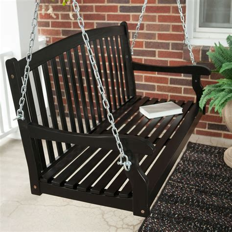 black porch swings classic curved back slat wood 5 ft porch swing in black