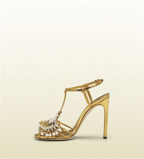 1668 5 A Highheels Gucci gucci phoebe high heel sandal with jeweled embroidery in metallic lyst