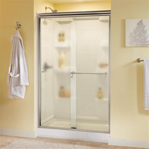 48 Sliding Shower Door Delta Portman 48 In X 70 In Semi Frameless Sliding Shower Door In Nickel With Droplet Glass