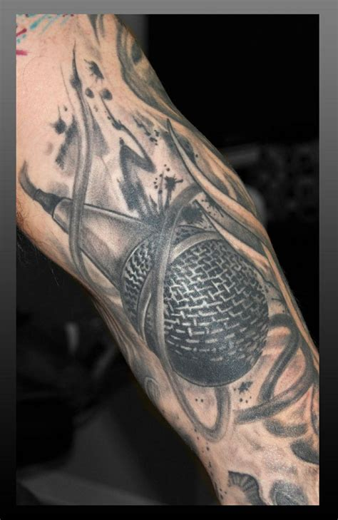 mic tattoo microphone done by frankenshultz artlabs
