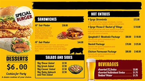 digital menu board templates digital menu templates free powerpoint menu board template