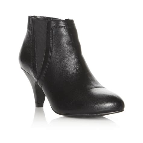 dune narborough womens black mid heel leather ankle