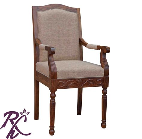 Arm Chair Wood Design Ideas Buy Maharaja Cushioned Wooden Chair With Arms In India Rajhandicraft Furniture