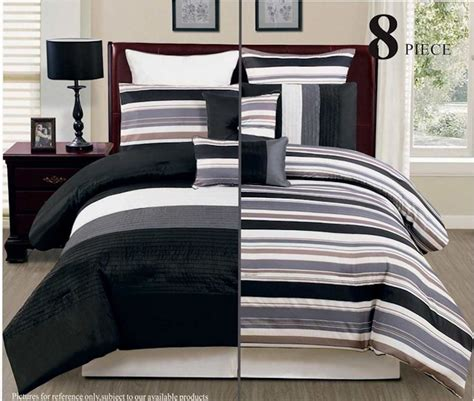 Bed In Bag Comforter Sets 8pc Reversible Luxury Comforter Bed In Bag Bedding Set Black Grey White Ebay