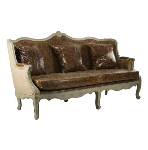 country leather sofa adele french country top grain leather burlap barrel back