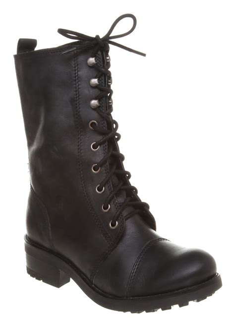 womens office kick work boot black leather boots