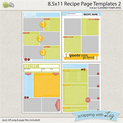 greeting card template 8 5x11 pdf quarter fold digital scrapbook templates 8x11 recipe page 2