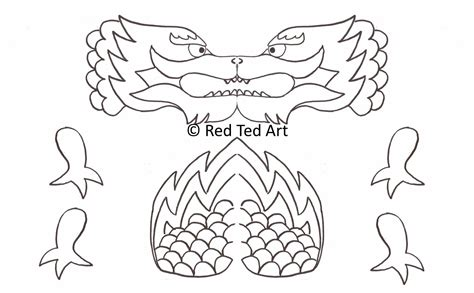 printable dragon templates chinese new year craft dragon puppet printable