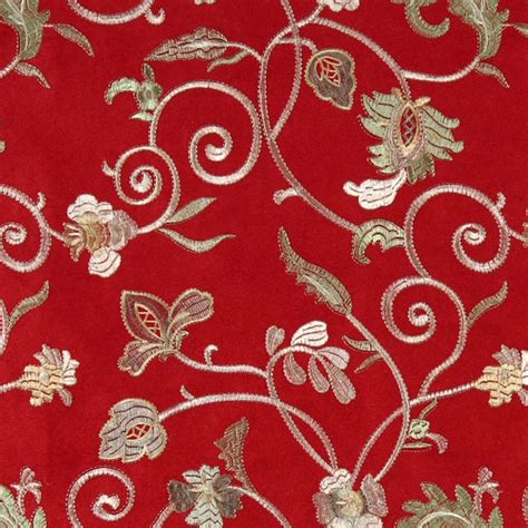 embroidered upholstery fabric red green and ivory embroidered floral vines suede