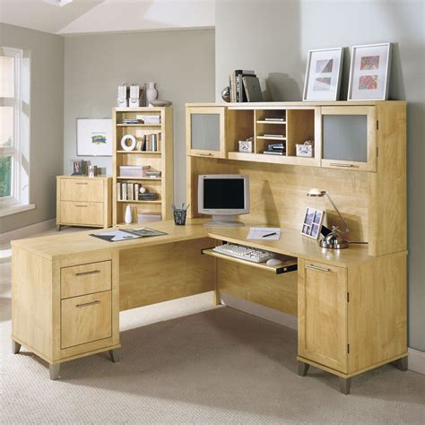 bush l shaped desk with hutch bush somerset l shaped desk with hutch maple desks at