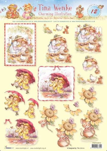 Decoupage Step By Step - 12 tina wenke charming illustrations 3d step by step