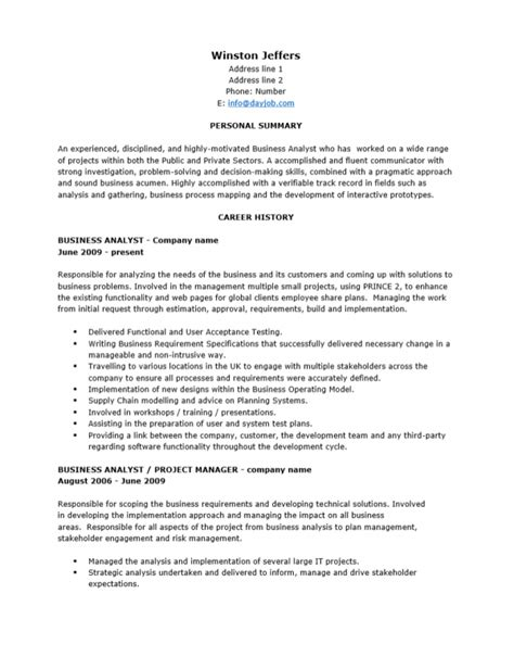 Senior Business Analyst Resume by Free Senior Business Analyst Resume Template Sle Ms