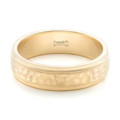 Custom Mens Hammered Yellow Gold Wedding Band 102760   Hammered Mens Wedding Bands   Welcome to
