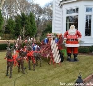 outdoor santa and reindeer decorations santa sleigh and reindeer outdoor decoration decor