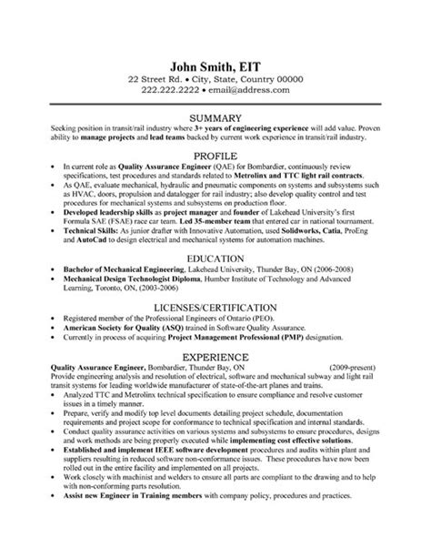 quality assurance engineer resume sle template