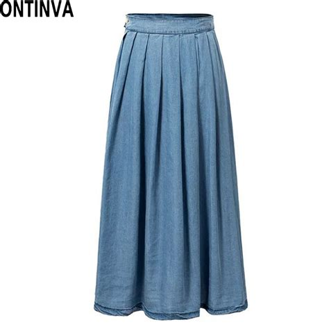 aliexpress buy midi length denim skirt