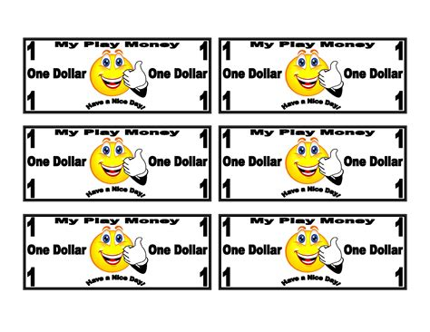 Printable Money Template by Play Money Templates Smiley Free Printable Play Money