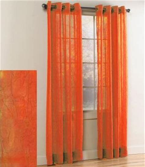 Sheer Curtains Orange Crushed Grommet Sheer Panel Orange