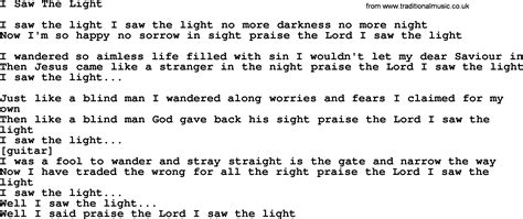Song I Saw The Light by Willie Nelson Song I Saw The Light Lyrics