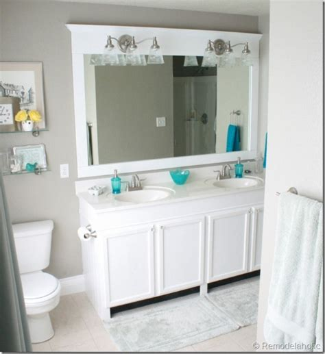 large bathroom mirror redo to double framed mirrors and remodelaholic how to remove and reuse a large builder