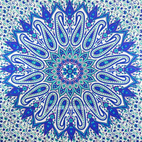 Trippy Home Decor by Large Blue Psychedelic Glittering Mandala Tapestry Hippie
