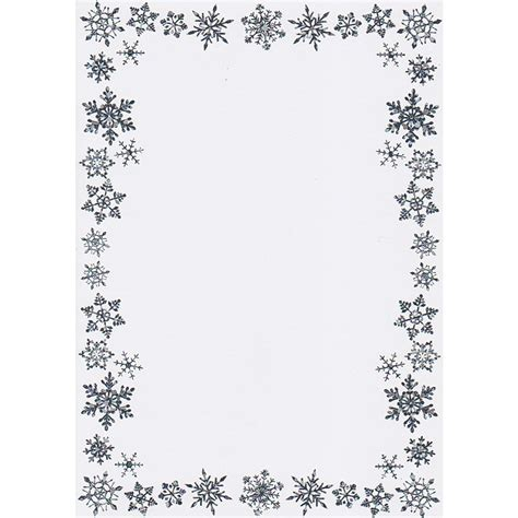 printable christmas border writing paper a5 snowflake