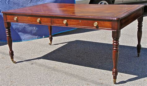 Table Top Writing Desk by 19th Century Regency Mahogany Leather Top Writing Desk Or